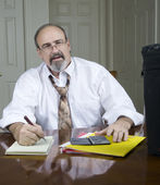 Businessman with a breathing disability. — Stock Photo