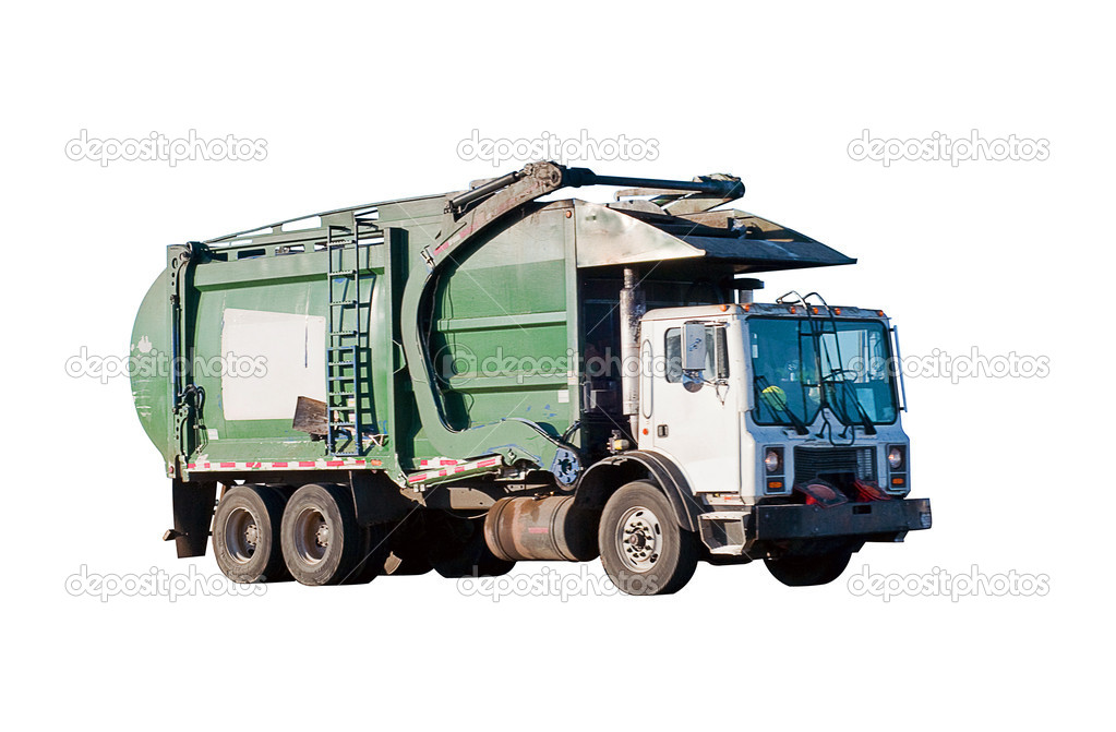 Garbage and trash removal truck isolated on a white background. — Stock Photo #1987554