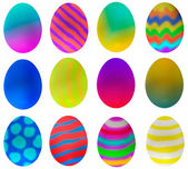 One dozen eggs decorated for Easter — Stock Photo