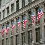 rangée de drapeaux américains — Photo