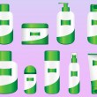 Set of 9 Bio Cosmetic Bottles - Stock Vector