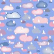 Stock Vector: Rain and Clouds Seamless