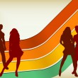 Retro Background with two couples — Vector de stock