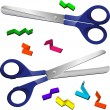 Two Scissors with cut paper pieces — Stock Vector