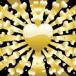 Stock Vector: Background Golden Heart Full
