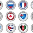 Buttons Heart Shaped Flags — Stock Vector