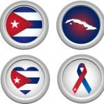 Cuba Buttons — Stock Vector