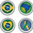 Brazil Buttons — Stock Vector