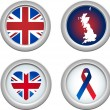 United Kingdom Buttons — Stock Vector
