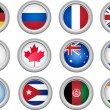 Buttons Flags — Vector de stock