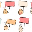 8 Doodle Faces with Signs — Stock Vector