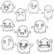 Set of 10 Cute Ghosts Stickers. - Stock Vector