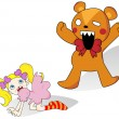 Girl and Horror Teddy Bear — Imagen vectorial