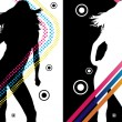 Disco Stripes Girl — Imagen vectorial