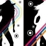 Диско полосы девушка — Cтоковый вектор