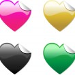 Colored Hearts Stickers — Stock Vector #1989993