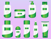 Set of 9 Bio Cosmetic Bottles — Stock Vector