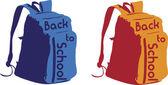 学校のバックパックに戻る — ストックベクタ