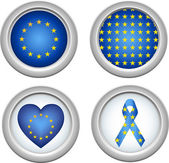 Europe Buttons — Stock Vector