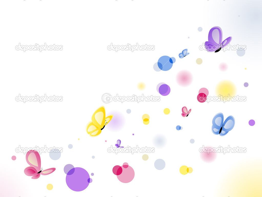 Beautiful Butterflies Background with colorful circles. Editable Vector Image — Stock Vector #1987969