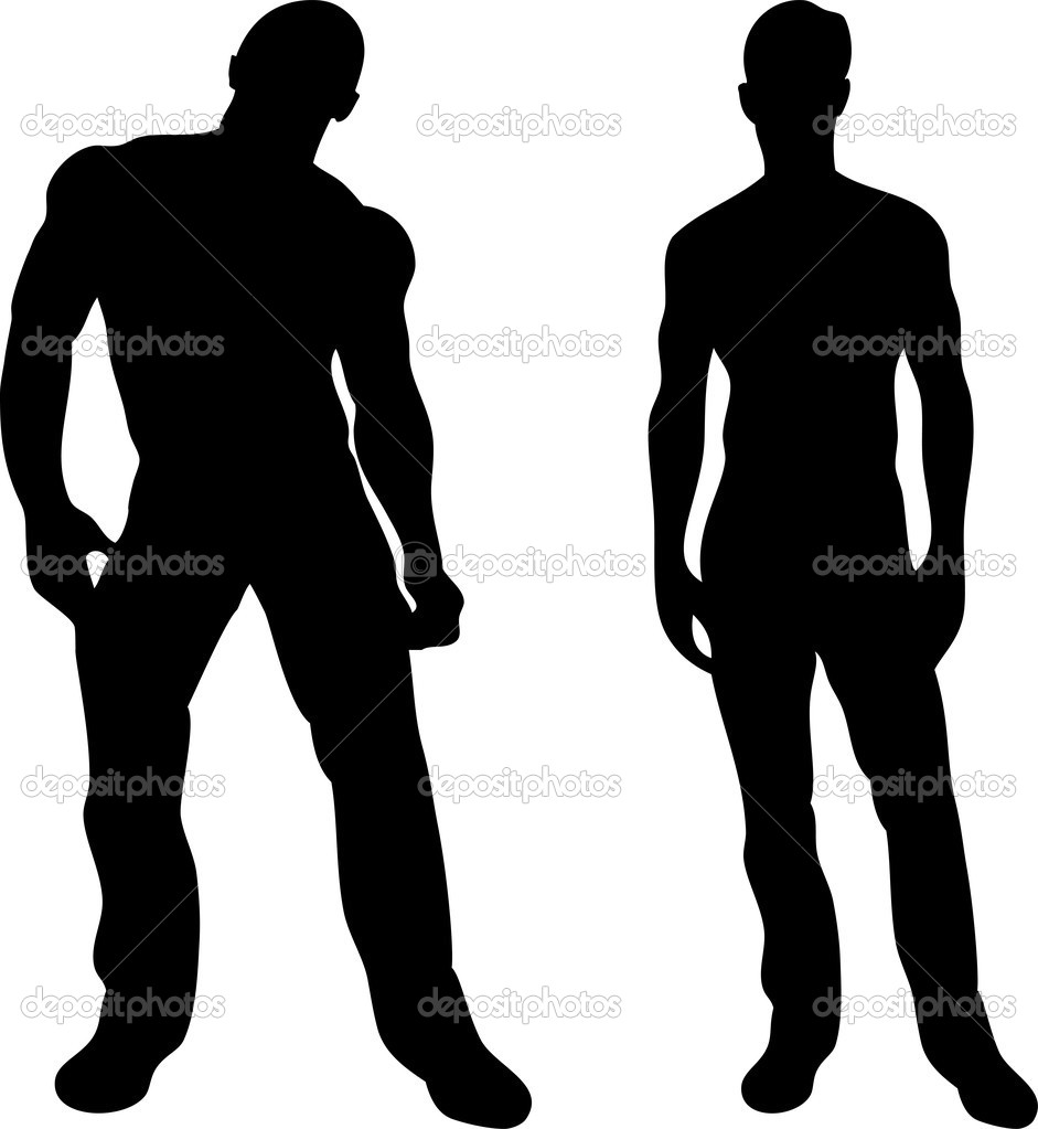 2 sexy men silhouettes on white background. Editable Vector Image  Stock Vector #1988017