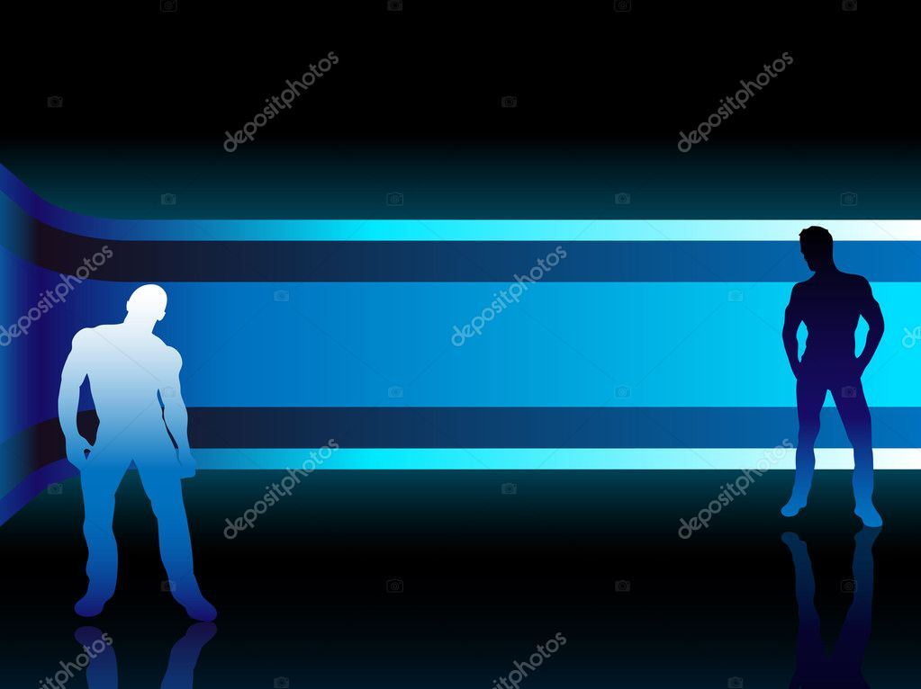 Sexy fashion boys in beautiful and colorful background. Editable Vector Image — Stock Vector #1988089