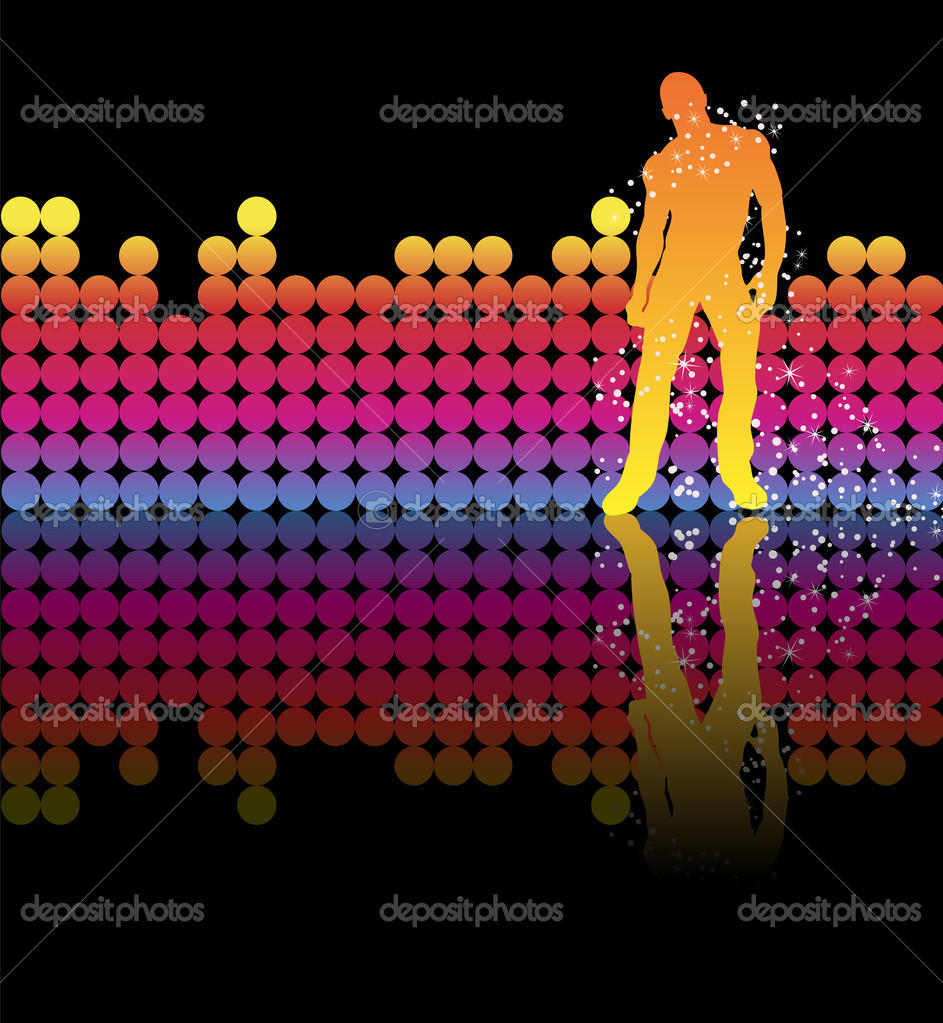 Sexy boy dancing on a rainbow background — Stock Vector #1989164