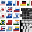 Keyboard with 17 different keys as flags - Stock Vector