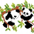Pandas on Tree Pixel Art - Stock Vector