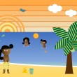 Royalty-Free Stock Vektorfiler: Retro Beach African American Family