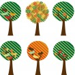 Set of retro trees — Stock Vector