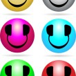 Stock Vector: Smiley DJ Neon