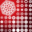 Stock Vector: Set of 49 highly detailed snowflakes.