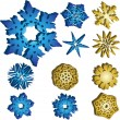 Set of 11 3D Snowflakes - Stock Vector