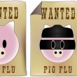 Royalty-Free Stock Vector Image: Swine Flu Wanted Sign