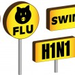 Stock Vector: 3D Swine Flu Signs