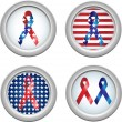 USA Buttons Ribbon — Stock Vector
