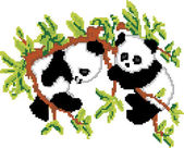 Pandas on Tree Pixel Art — Stock Vector