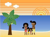 Retro Beach African American Family — Stock Vector