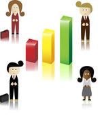 Retro Businessmen and businesswomen — Stock Vector