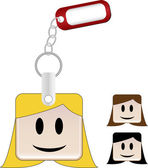 SquareHead Keychain Girl — Stock Vector