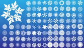Set of 97 complex snowflakes. — Stock Vector