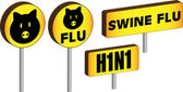 3D Swine Flu Signs — Stock Vector