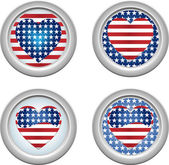 USA Buttons Heart — Stock Vector