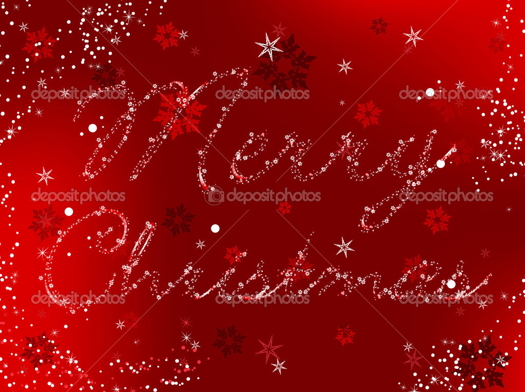 Merry Christmas Vector Image written in snowflakes and stars  Stock Vector #1990050