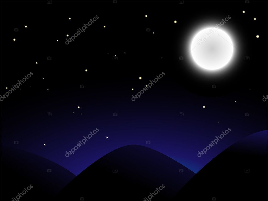 Beautiful full moon shining over mountains — Stock Vector #1990067