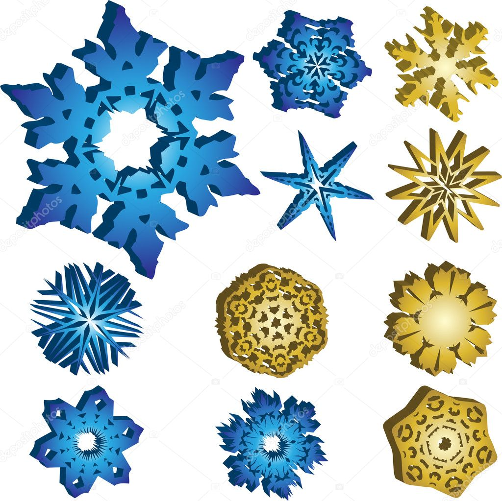11 3D Snowflakes Vectors in Blue and Golden Colors. — Stock Vector #1991013