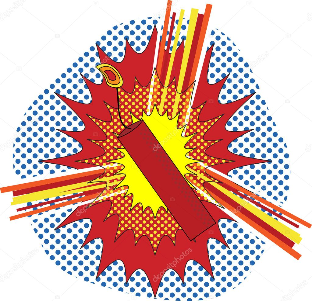 TNT Dynamate in a pop art cartoon explosive style  Imagen vectorial #1991259