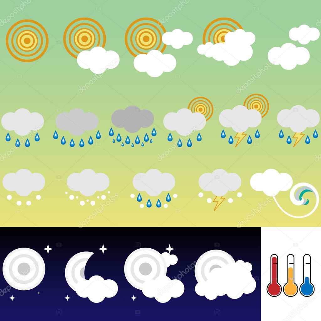 Set of 21 weather icons retro style — Imagen vectorial #1991340