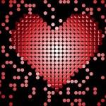 Shiny 3D Dots Red Heart. — Stock Vector